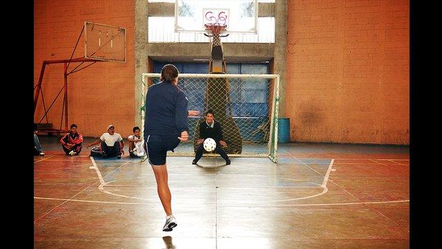 U.S. Women's National Team player Shannon MacMillan takes a shot on goal in Solala, Guatemala.