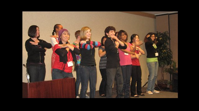 "YES Abroad applicants and YES alumni perform the ""funky chicken dance"" during a talent show."