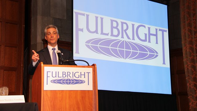 "Mayor of the City of Chicago Rahm Emmanuel welcomes the audience and panelists to the panel discussion, ""Fulbright 2.0 – e-Learning, MOOCs, OERs, and the Future: What Does New Technology Mean for Global Education?"""