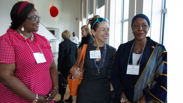 Nadine Cino, CEO and co-Inventor of Tyga-Box Systems, Inc., meets AWEP 2014 participants from Cote d'Ivoire and Cameroon in NYC.