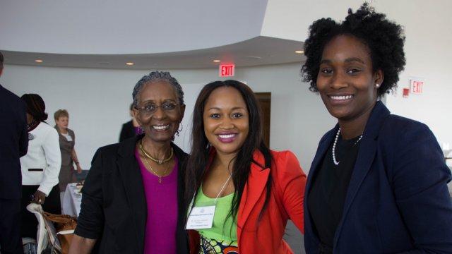 Nobukhosi NDLOVU of Zimbabwe (center) is happy to start the AWEP 2014 program.