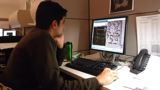 Ayaz at work creating line drawings from the laser scan and photographic documentation