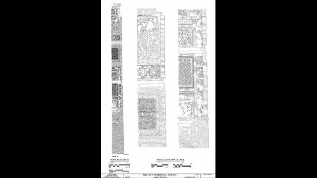 Architectural drawing of Panel 14 from the Mas'ud III minaret/tower