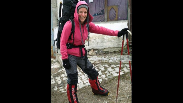 Ilina Arsova, Global Sports Mentoring Program Alumna poses for a photo before making her ascent up Mount Everest.