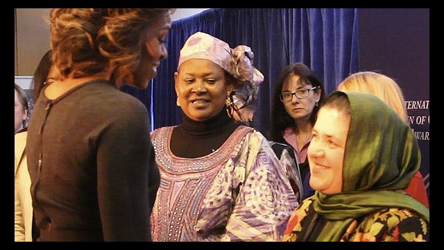 Photo of Dr.Nasrin meeting First Lady Michelle Obama