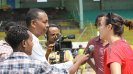 The soccer envoys hold an interview on their exchange in Ethiopia.