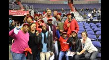 On a visit to the Verizon Center, coaches met NBA Wizards player Kevin Seraphin
