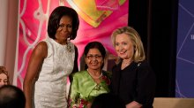 Photo of Secretary Clinton, Michelle Obama, and IWOC awardee