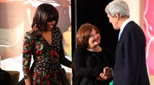 Photo of John Kerry and Michelle Obama presenting award to IWOC honoree