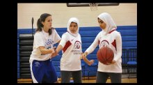 Girls received instruction on defensive stances at Marymount University in Arlington, Virginia.