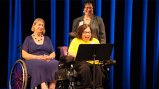 Judy Heumann, Special Advisor for International Disability Rights, U.S. Department of State speaks during comedy performance for the 25/40 Celebration: Celebrating the ADA 25th and VSA 40th Anniversaries.