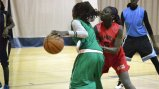 The Senegalese girls take part in a friendly basketball scrimmage at a D.C.-area gym.
