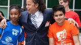 Former U.S. Men's National Team midfielder Cobi Jones meets with youth soccer players in D.C. ahead of the World Cup presentation at the U.S. State Department