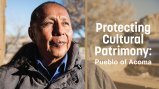 "Native man looking past the camera with the words ""Protecting Cultural Patrimony"" superimposed to the right of his face."