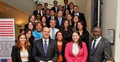 U.S. Ambassador Adam E. Namm poses with alumni from Fulbright, Humphrey, International Visitor Leadership Program (IVLP), Study of the U.S. Institutes (SUSI), and Youth Ambassadors.