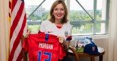 Assistant Secretary Marie Royce and Alex Morgan shirt