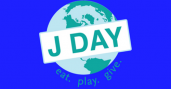 "Graphic of globe with ""J Day"" written on top and ""eat.play.give."" written at the bottom of the globe"