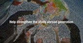 "Screen shot from the video reads, ""Help strengthen the study abroad generation."""