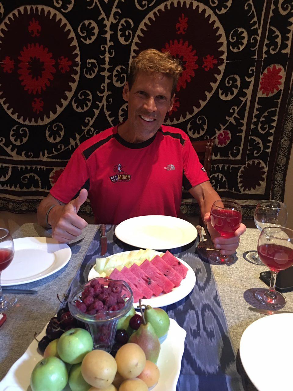 Dean Karnazes with traditional Uzbek cuisine