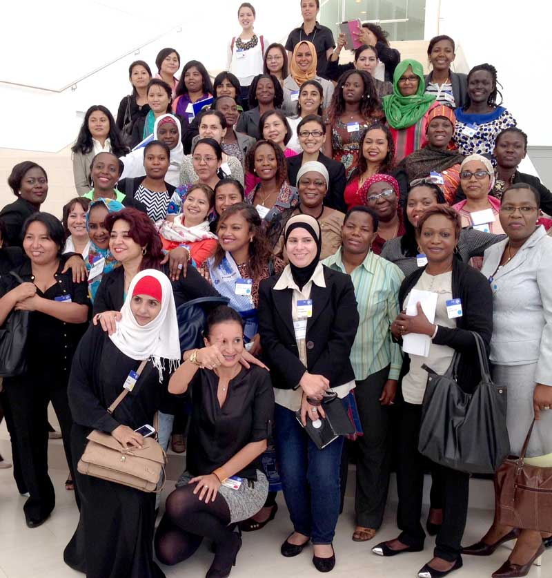 Large group shot of women participants in lobby