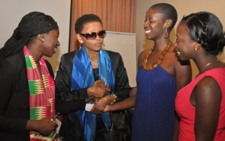 Dr. Gebre talks with current U.S. Fulbright Students after her keynote address at the 2013 Enrichment Seminar in Addis Ababa, Ethiopia.