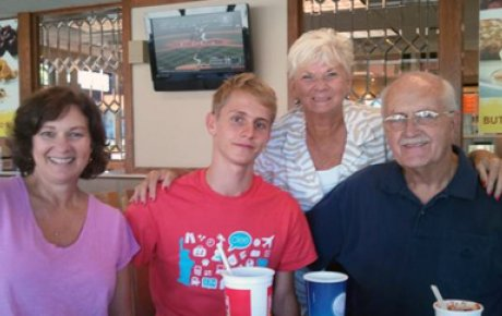 Left to right: Local Coordinator Cindy James, Jonas, Betty and Hubert enjoy a meal together at Wendy's. Photo courtesy of Betty Patterson.