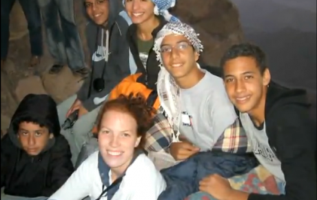 Arabic language student, Margaret Mullins, with friends in Egypt.