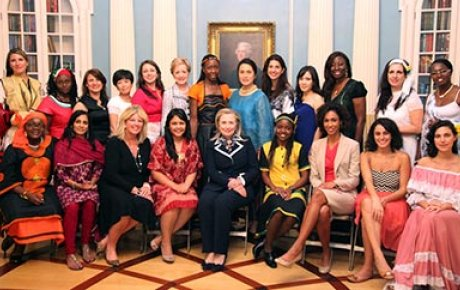 U.S. Department of State and espnW Global Sports Mentoring Program pose for photo with Secretary of State Hillary Rodham Clinton and Assistant Secretary Ann Stock
