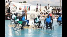 The South Sudanese wheelchair basketball team plays a game.