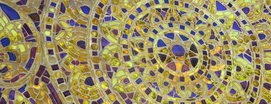 Intricate gold glass mosaic