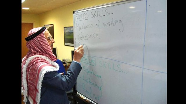 A Jordanian Ministry of Education supervisor participates in a workshop the American Language Center in Amman.