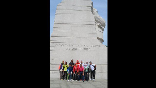 During a day of touring Washington, the Egyptian athletes visit the MLK, Jr. monument
