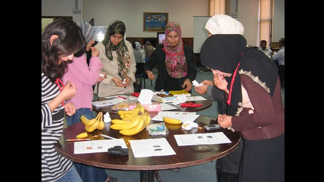 """Educators learn about teaching techniques that employ real-life (""""realia"""") materials in a workshop facilitated by an English Language Specialist in Libya."""