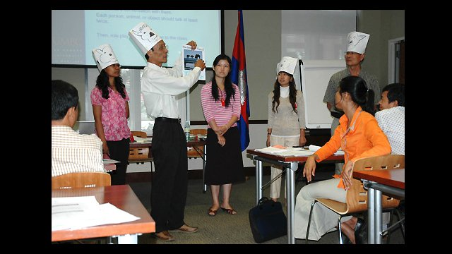 """Participants in a two-day """"Teaching English to Young Learners"""" workshop given by English Language Specialists at the U.S. Embassy in Phnom Penh, Cambodia."""