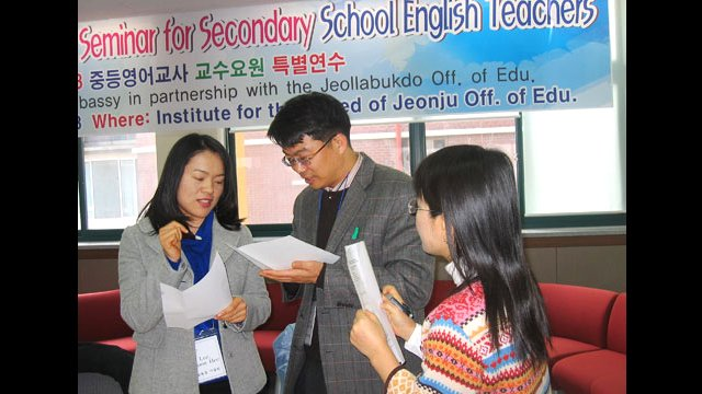Secondary school teachers interact during an English Language Teaching workshop in Korea.