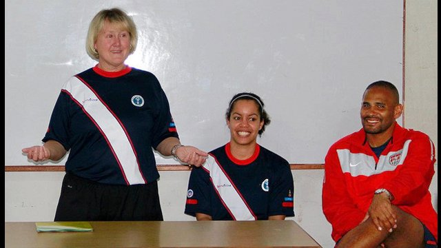 Former U.S. Women's National Soccer Team Manager, Cheryl Bailey, engages young boys and girls on the subject of nutrition and fitness.