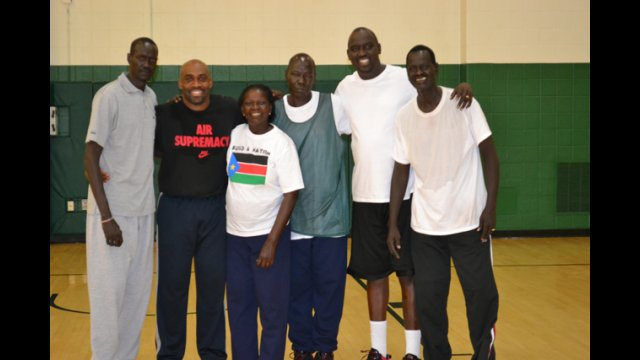 """The South Sudanese coaches join together after an intensive """"training the trainer"""" clinic."""
