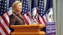 Photo of Secretary Clinton Speaking at 100 Women Event