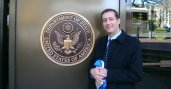 Lebanese Fulbright alumnus Dr. Ziad Fahed stands outside the United States Department of State in Washington, D.C.