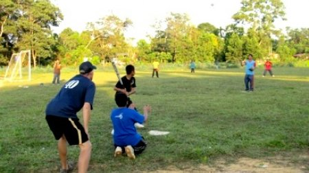 English Teaching Assistant Blair Daly in Malaysia coaching his team at Tengku Ampuan Intan Secondary School in 2011.